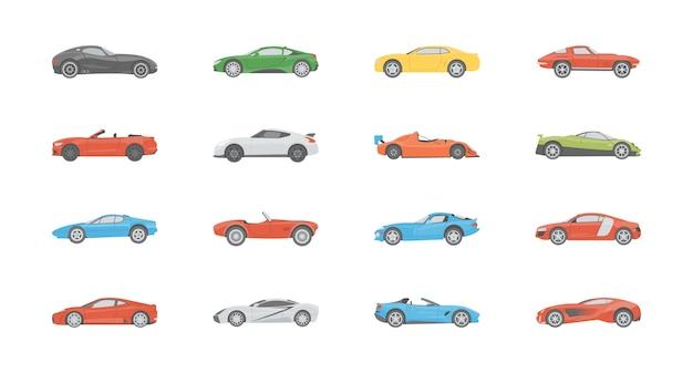 Płaskie ikony pojazdów