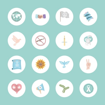 Płaskie ikony pokoju