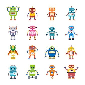 Płaskie ikony postaci robota
