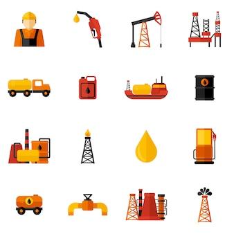 Płaskie ikony przemysłu naftowego