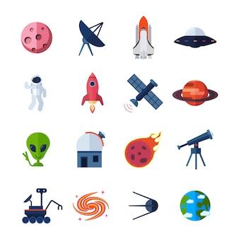 Płaskie ikony przestrzeni