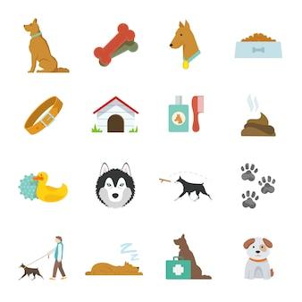 Płaskie ikony psa