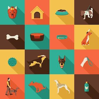 Płaskie ikony psów
