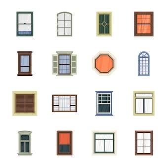 Płaskie ikony ramy okna