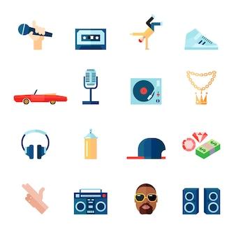 Płaskie ikony rap hip-hop śpiewające muzyka zestaw ilustracji wektorowych na białym tle