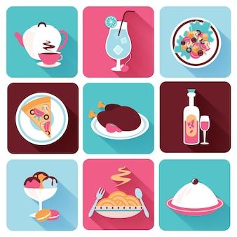 Płaskie ikony restauracji żywności