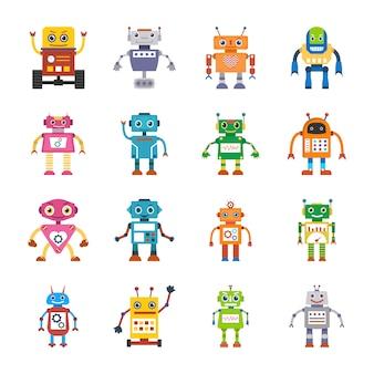 Płaskie ikony robota maszyny
