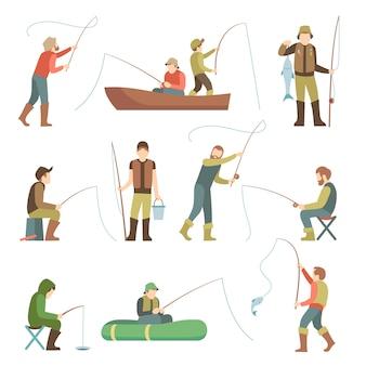 Płaskie ikony rybaka. ludzie rybacy z rybami i sprzętem