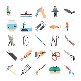 Płaskie ikony rybołówstwa