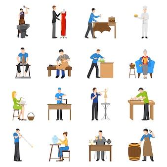 Płaskie ikony rzemieślników
