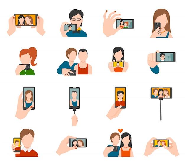 Płaskie ikony selfie
