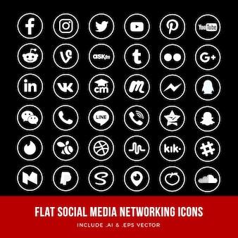 Płaskie ikony sieci społecznościowych wektor