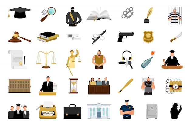 Płaskie ikony sprawiedliwości