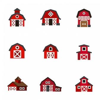 Płaskie ikony stodoły.