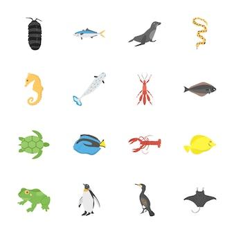 Płaskie ikony stworzenia głębinowych