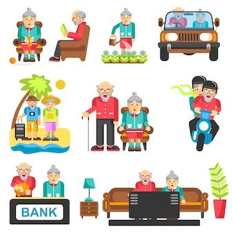 Płaskie ikony stylu życia starszych ludzi