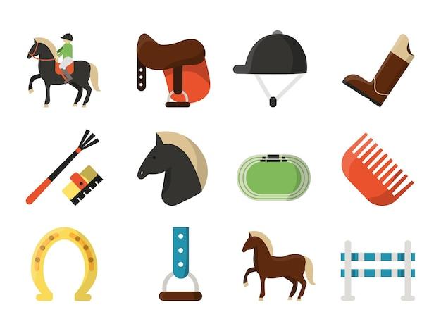 Płaskie Ikony. Symbole Sportu Jeździeckiego. Premium Wektorów