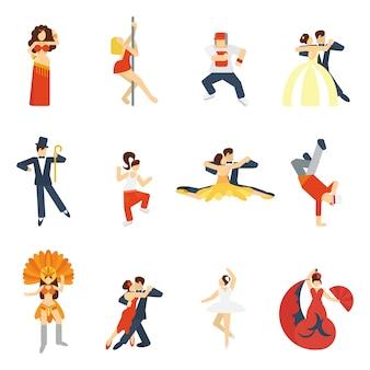 Płaskie ikony tańca