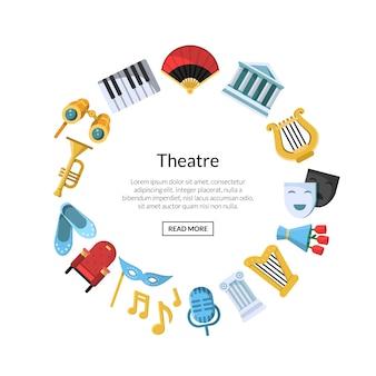 Płaskie ikony teatru w okręgu
