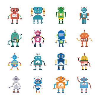 Płaskie ikony technologii robota