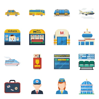 Płaskie ikony transportu pasażerskiego