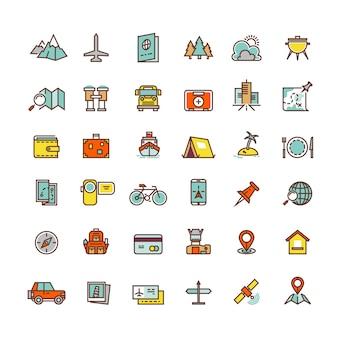 Płaskie ikony turystyki i transportu