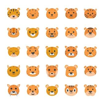 Płaskie ikony tygrys twarzy