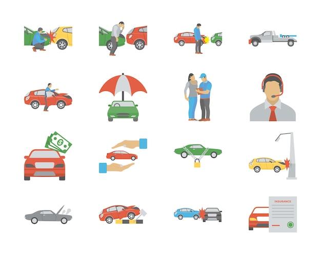 Płaskie ikony ubezpieczenia samochodu