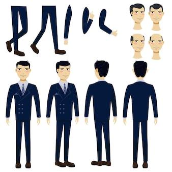 Płaskie ikony ustawiać azjatycki biznesowy mężczyzna