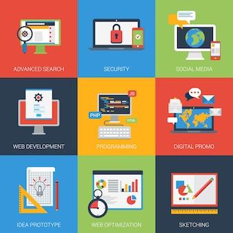 Płaskie ikony ustawiają interfejs okna tworzenia aplikacji sieci web