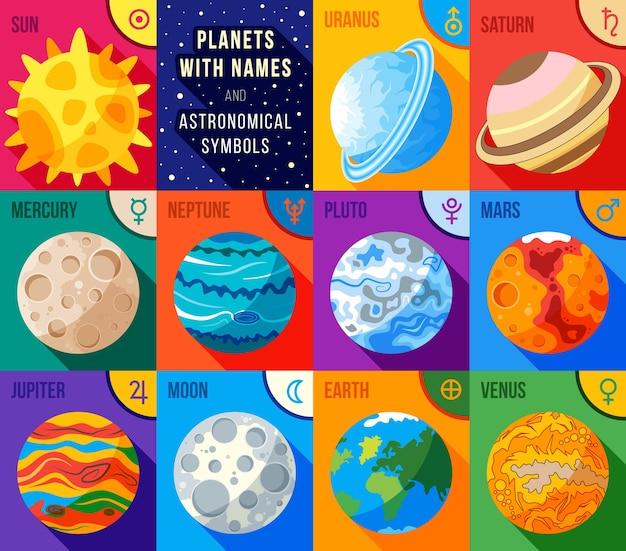 Płaskie ikony ustawiają planety z nazwami i symbolami astronomicznymi
