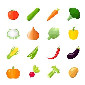 Płaskie ikony warzyw