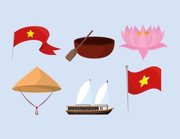 Płaskie ikony wietnamskie