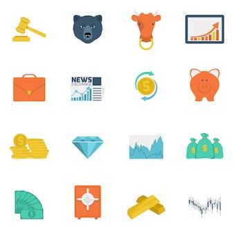 Płaskie ikony wymiany finansów