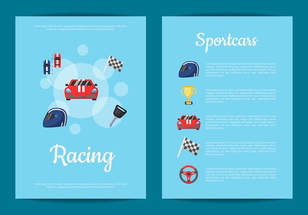 Płaskie ikony wyścigów samochodowych karty lub ulotki
