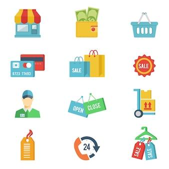 Płaskie ikony zakupów
