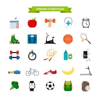 Płaskie ikony zdrowego stylu życia