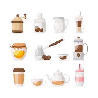 Płaskie ikony zestaw kawy / herbaty na białym tle: młynek, ziarna kawy, miód, frappe, kawa na wynos, herbata, mleko, koktajl mleczny itp