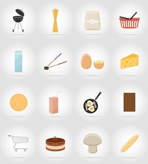 Płaskie ikony żywności i przedmiotów.