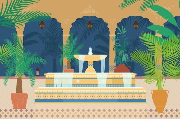 Płaskie ilustracja arabskiego ogrodu pałacowego z fontanną, roślinami tropikalnymi, łukami, latarniami.