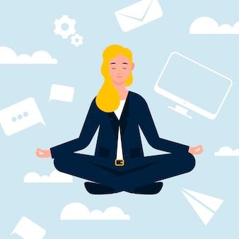 Płaskie ilustracja biznes kobieta medytacji