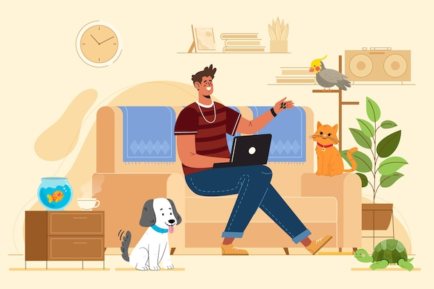 Płaskie ilustracja człowiek ze zwierzętami w pomieszczeniu