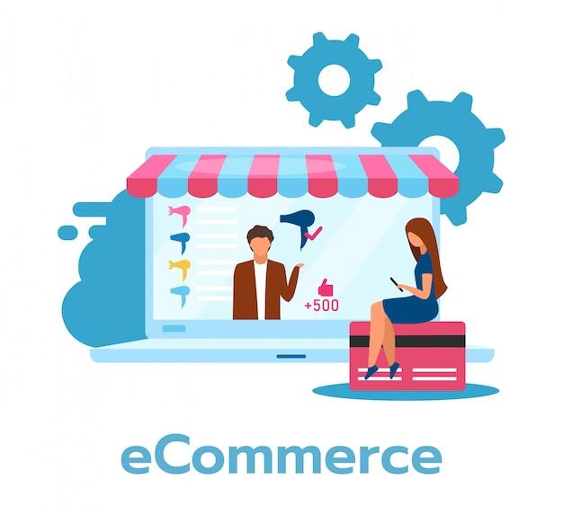 Płaskie ilustracja e-commerce. kupowanie, sprzedaż produktów przez internet.