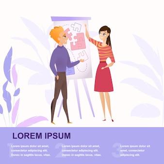 Płaskie ilustracja grupy osób pracujących nad projektem