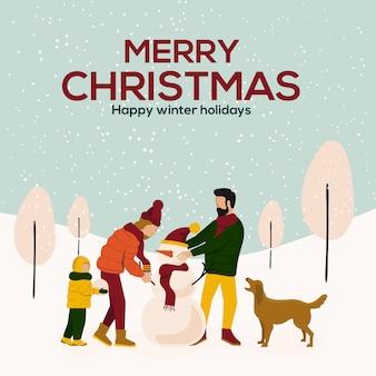 Płaskie ilustracja karty cristmas