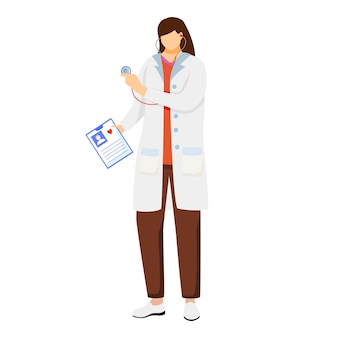 Płaskie ilustracja kobiece kobieta lekarz. lekarz ogólny posiadający kartę pacjenta. terapeuta, lekarz z stetoskopem gotowy do kontroli. pracownik medyczny. doc, lekarz, kardiolog postać z kreskówki