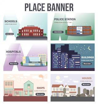 Płaskie ilustracja kolekcji miejsc