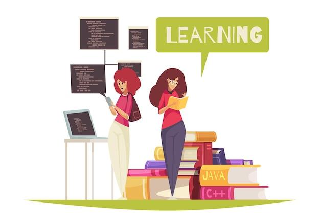 Płaskie ilustracja koncepcja edukacji programisty