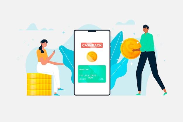 Płaskie ilustracja koncepcji cashback