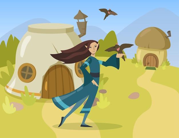 Płaskie ilustracja kreskówka kobiece elf charakter. elfka postać kobiety w tradycyjnym stroju trzymająca ptaka na palcu w małej elfiej wiosce